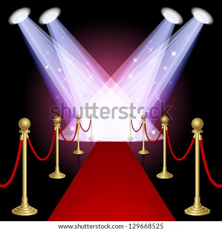 Red carpet with spotlight.Mesh.This file contains transparency.EPS10 - stock vector