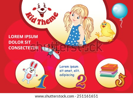 Red Cartoon background for kid template - stock vector