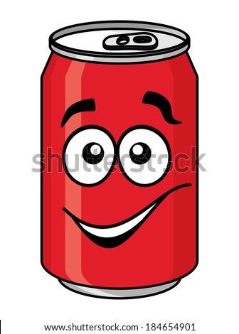Red cartoon soda or soft drink can with a smiling face isolated on white for fast food design - stock vector