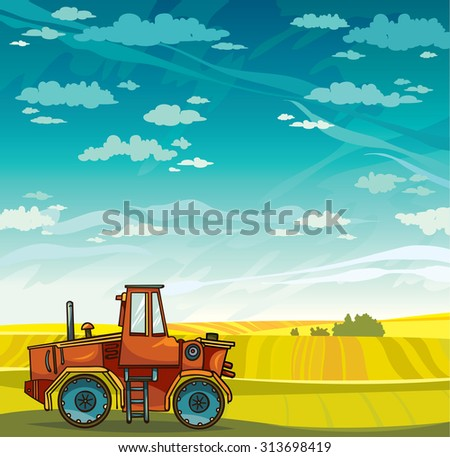 Red cartoon tractor and green field on a blue sky with clouds. Vector rural landscape. - stock vector