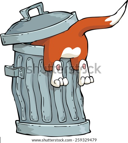 Red cat in a trash can vector illustration - stock vector