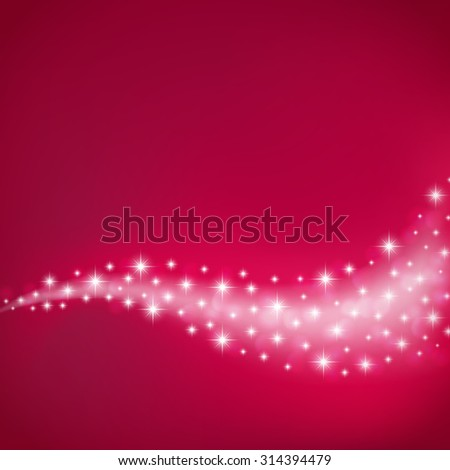 red celebration background with flowing stars and light - stock vector