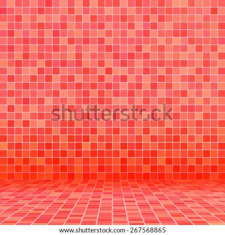 Red ceramic tile mosaic in swimming pool - stock vector