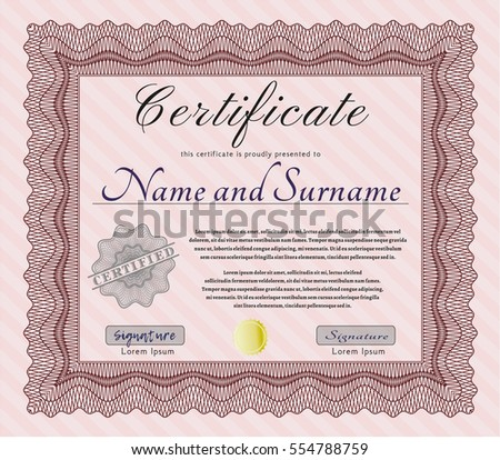 Red Certificate of achievement. Money design. With complex linear background. Vector illustration.