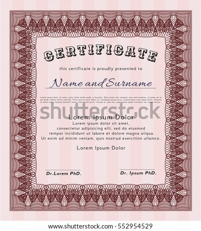 Red Certificate or diploma template. Excellent design. Easy to print. Detailed.