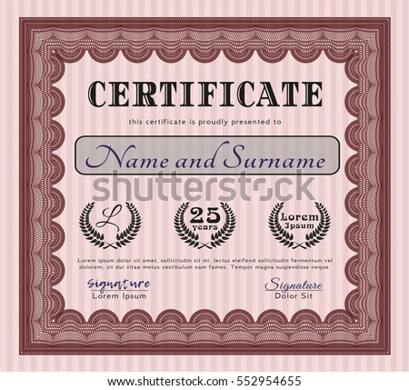Red Certificate template. Retro design. Customizable, Easy to edit and change colors. With great quality guilloche pattern.