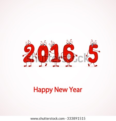 Red characters numbers, Happy New Year 2016, illustration. - stock vector