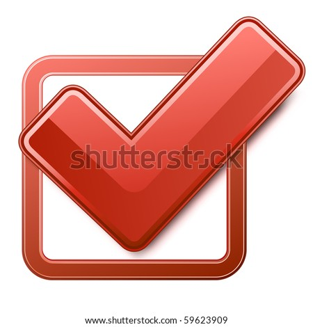 Red check box with check mark - stock vector