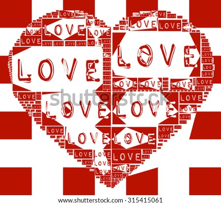 Red checkered background with abstract Love heart illustration together and abstract grunge Love words create Love heart together vector print pattern. fashion, graphic design Special valentines day - stock vector