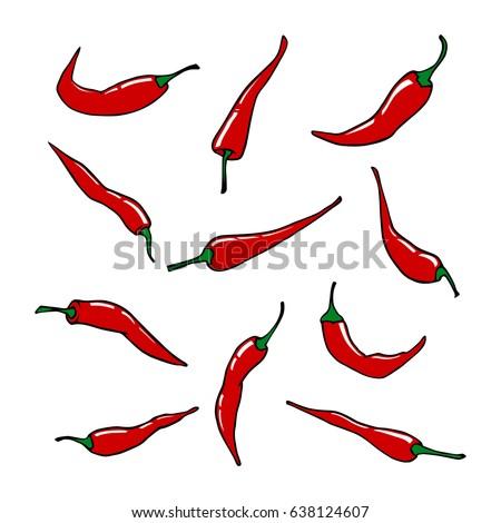 red chili pepper vector set stock vector 638124607 - shutterstock
