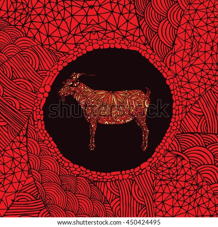 Red Chinese zodiac sign - Goat - stock vector