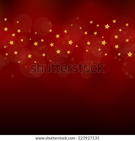 red Christas vector eps10 design in red / Christmas card / beautiful red background with golden stars  - stock vector