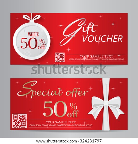 Red christmas new year gift voucher stock vector 324231797 for Shopping certificate template