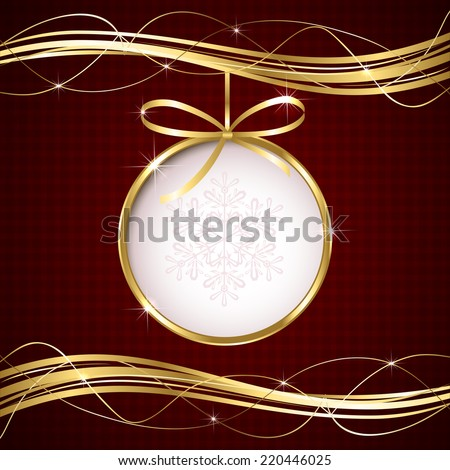 Red Christmas background with ball and golden ribbon, illustration. - stock vector