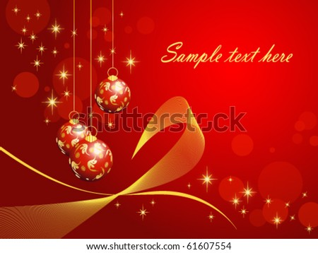 Red Christmas background with baubles, elegant style (vector, eps10) - stock vector