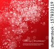 Red Christmas background with bokeh and stars - stock photo