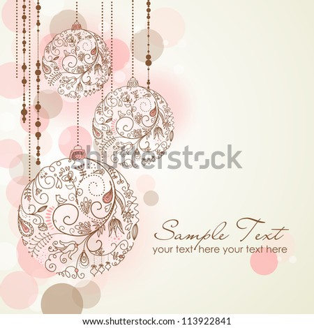 Red Christmas Background with Christmas ornaments - stock vector