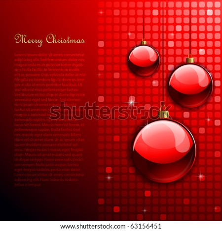 Red Christmas background with disco balls