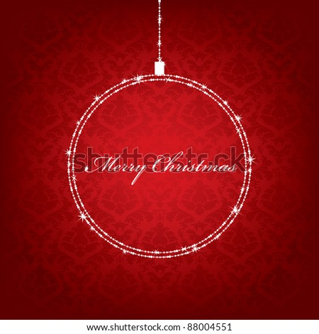 red christmas background with hanging decoration and seasonal message - stock vector