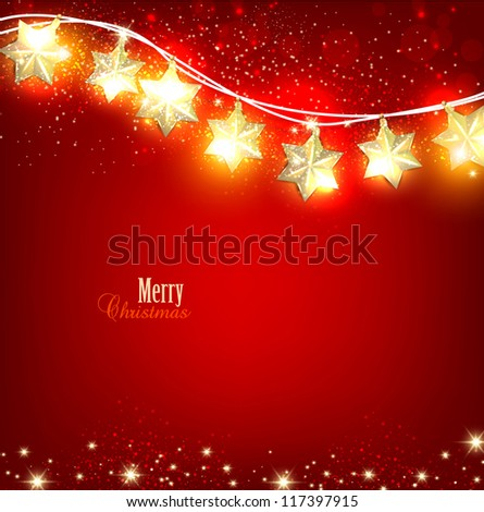 Red Christmas  background with luminous garland. Vector illustration - stock vector