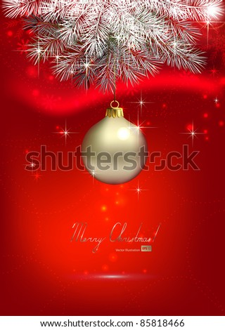red Christmas background with one silver evening ball