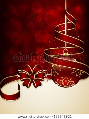 Red Christmas background with ribbon and bauble, illustration. - stock vector