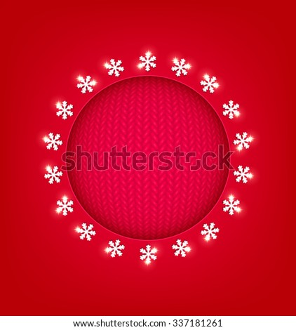 Red Christmas Background with  round frame - stock vector