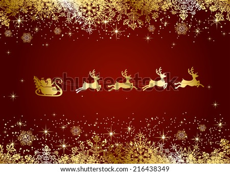 Red Christmas background with Santa and snowflakes, illustration. - stock vector