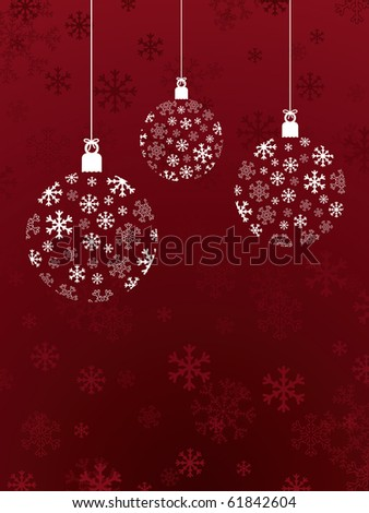 red christmas background with snowflake hanging decorations - stock vector