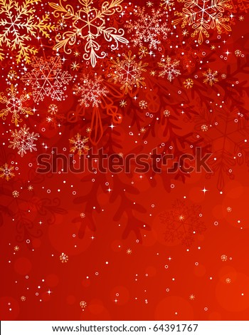 red christmas background with snowflakes, vector illustration