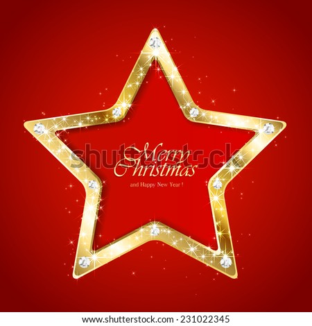 Red Christmas background with sparkling diamond star, illustration. - stock vector