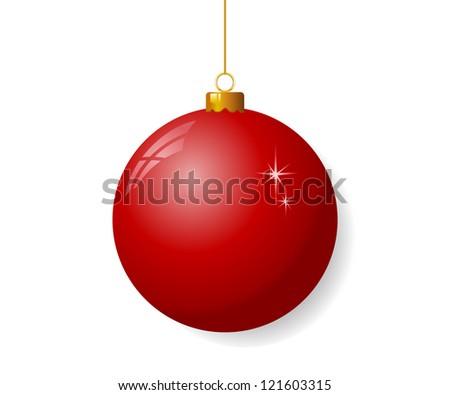Red christmas ball - stock vector