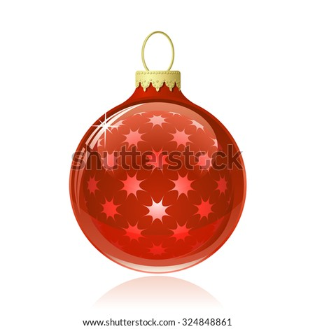 Red Christmas ball. Christmas bauble with star shapes and reflections. Vector illustration - stock vector