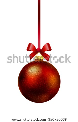 Red Christmas ball hanging on a ribbon with a bow