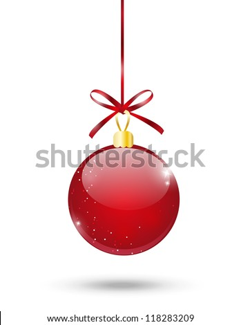 Red Christmas ball on white background - stock vector