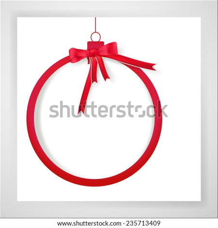 Red christmas ball with empty space for text on white background