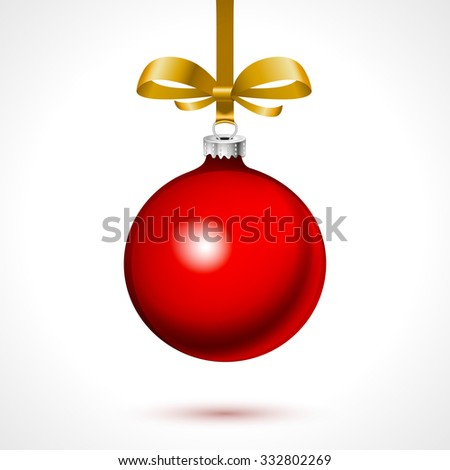 red christmas ball with gold ribbon on white background art - stock vector