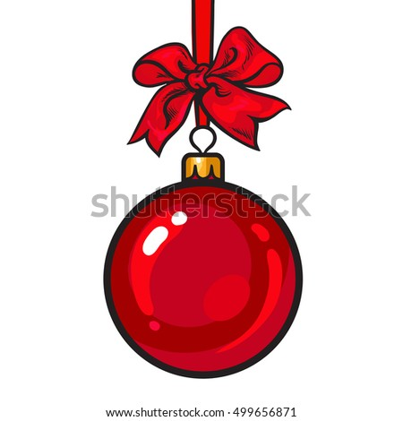 Red Christmas ball with red ribbon and bow, sketch style vector illustration isolated on white background. Shiny decoration globe of solid red color