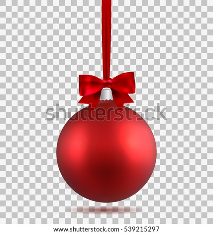 Red Christmas Ball Ribbon Bow Isolated Stock Vector ...