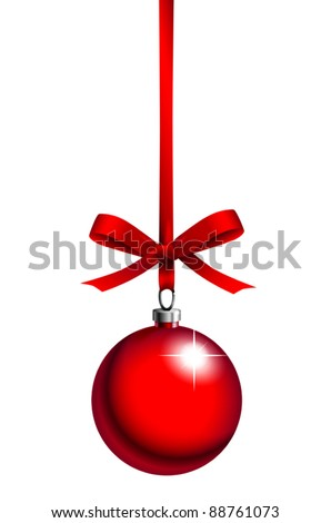 red christmas ball with ribbon on white background - stock vector