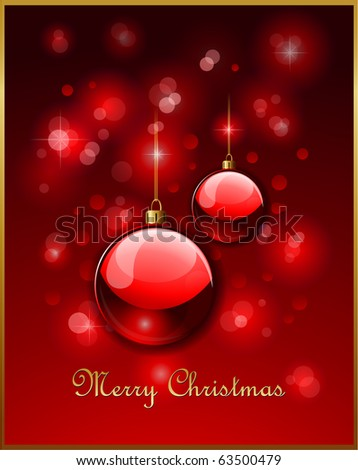 Red Christmas balls and defocused lights - stock vector
