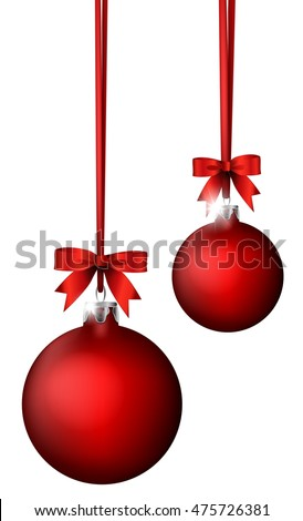 red christmas balls and ribbon on white background