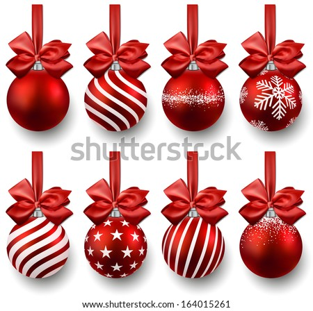 Red christmas balls on gift bows. Set of isolated realistic decorations. Vector illustration.  - stock vector