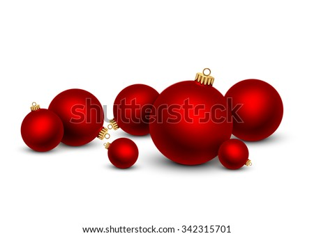 Red Christmas balls on white background - stock vector