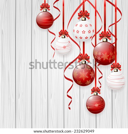 Red Christmas balls on wooden background, illustration. - stock vector
