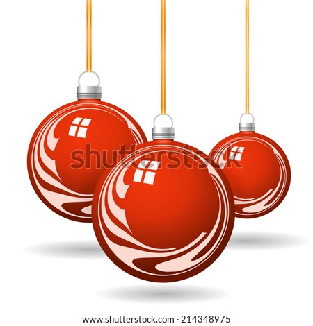 Red Christmas balls with gold ribbon and bows  - stock vector