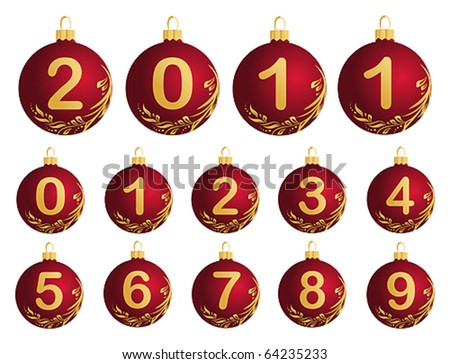 Red Christmas Balls with numerals 0-9 - stock vector