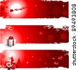 Red Christmas banners for greeting card - stock vector