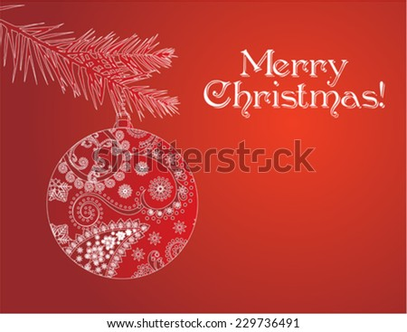 Red Christmas bauble card - stock vector
