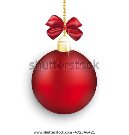 Red christmas bauble with ribbon on the white background. Eps 10 vector file.
